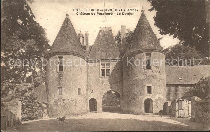 Le Breil sur Merize Chateau de Peschere Le Donjon Kat. Le Breil sur Merize