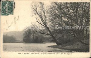 Lyon France Parc de la Tete d Or Bords du Lac Iles des Cygnes Stempel auf AK Kat. Lyon