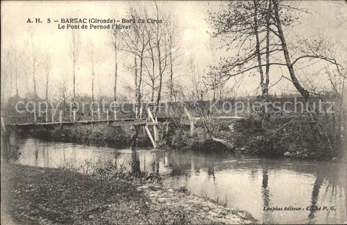 Barsac Gironde Bord du Ciron Pont de Pernod l Hiver Kat. Barsac