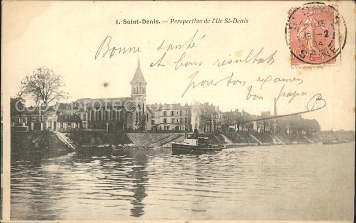 Saint Denis Perspective de l Ile Saint Denis Stempel auf AK Kat. Saint Denis