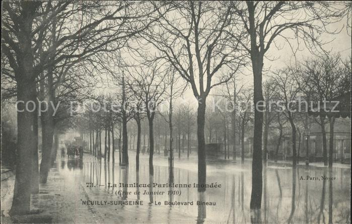 Neuilly sur Seine Boulevard Bineau Inondations 1910 Kat. Neuilly sur Seine