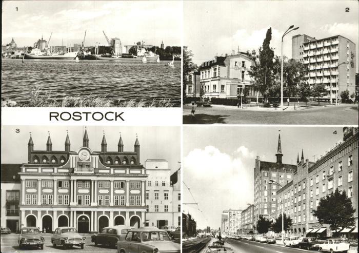 Rostock Blick zum alten Hafen HOG Bahnhofshotel Rathaus Lange Strasse Kat. Rostock