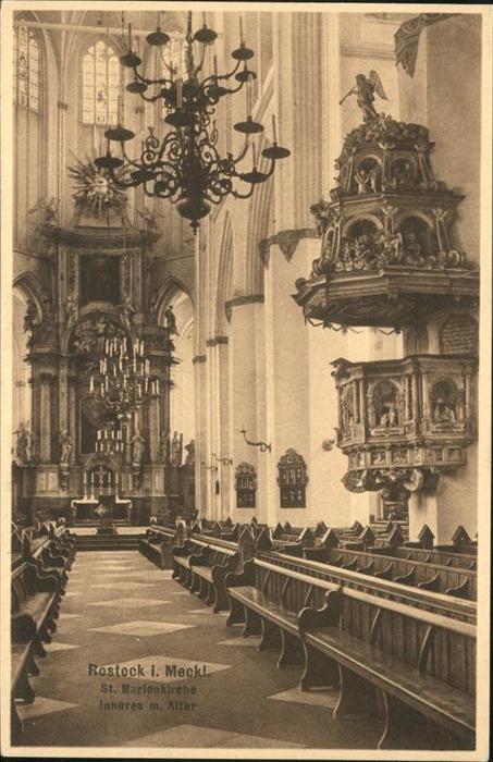 Rostock St. Marienkirche Inneres mit Altar Kat. Rostock