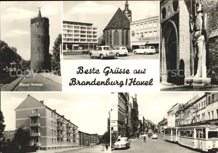 Brandenburg Havel Plauer Torturm Der Roland Strassenpartie Strassenbahn Kat. Brandenburg