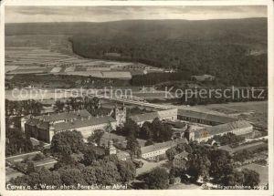 Corvey Schloss ehem Benediktiner Abtei Fliegeraufnahme Kat. Hoexter
