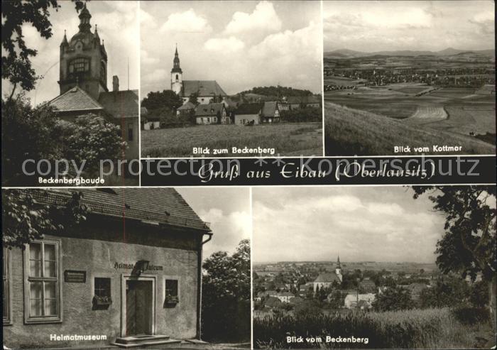 Eibau Beckenbergbaude Kirche Panorama Heimatmuseum Blick vom Beckenberg / Eibau /Goerlitz LKR