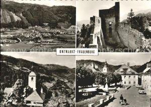 Unzmarkt Frauenburg Total Burgruine Strassenpartie Kirche Kat. Unzmarkt Frauenburg