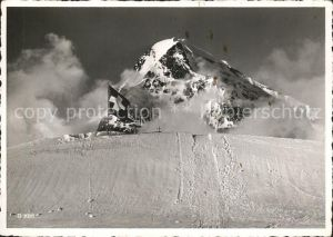 Jungfraujoch mit Moench Schweizer Flagge Kat. Jungfrau