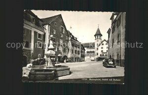 Maienfeld Staedtliplatz mit Rathaus Brunnen Kat. Maienfeld