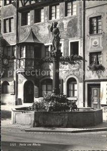 Stein Rhein Gasthof zur Sonne Erker Historisches Gebaeude Fassadenmalerei Brunnen Kat. Stein Rhein