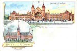 Altona Hamburg Cantral-Bahnhof Post Litho / Hamburg /Hamburg Stadtkreis