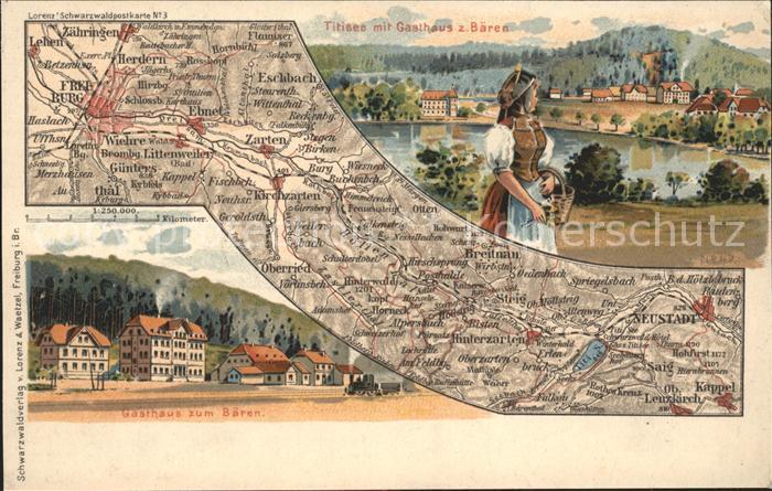 Titisee Gasthaus z. Baren Karte  / Titisee-Neustadt /Breisgau-Hochschwarzwald LKR
