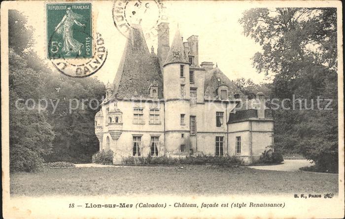 Lion-sur-Mer Chateau Stempel auf AK / Lion-sur-Mer /Arrond. de Caen