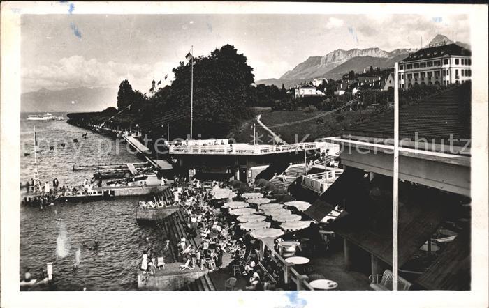 Evian-les-Bains Haute Savoie La Plage Restaurant Hotel Montagnes / Evian-les-Bains /Arrond. de Thonon-les-Bains