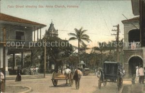 Panama City Panama Main Street showing Sta Anna Church / Panama City /