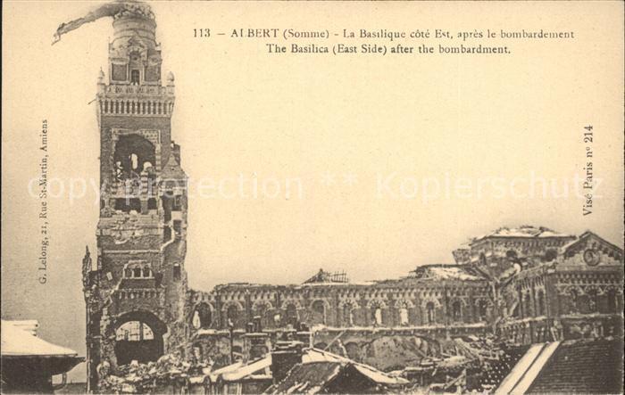 Albert Somme Basilique apres le bombardement Ruines Grande Guerre 1. Weltkrieg / Albert /Arrond. de Peronne