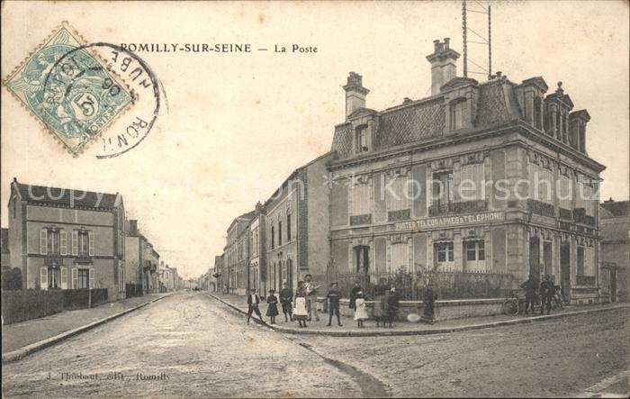 Romilly-sur-Seine La Poste Stempel auf AK / Romilly-sur-Seine /Arrond. de Nogent-sur-Seine