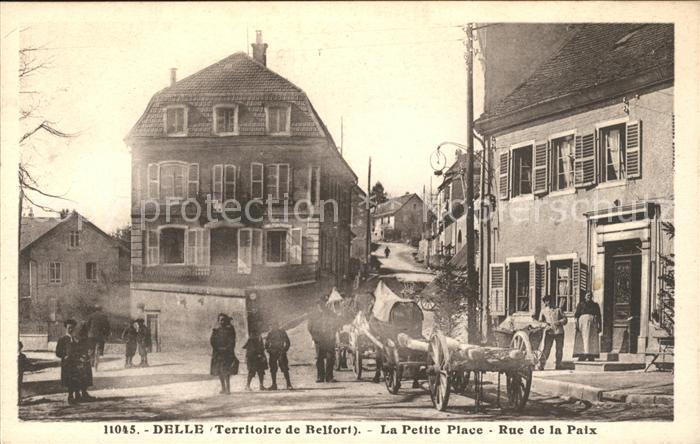 Delle Belfort La Petite Place Rue de la Paix Pferdefuhrwerk / Delle /Arrond. de Belfort