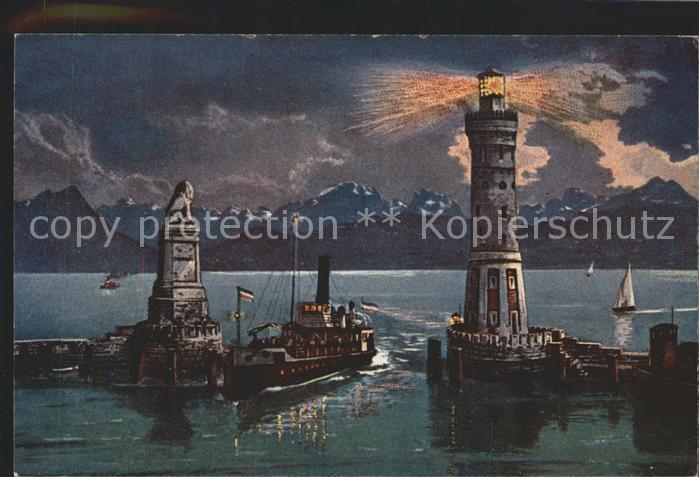 Lindau Bodensee Leuchtturm Dampfer Hafen  Kat. Lindau (Bodensee)