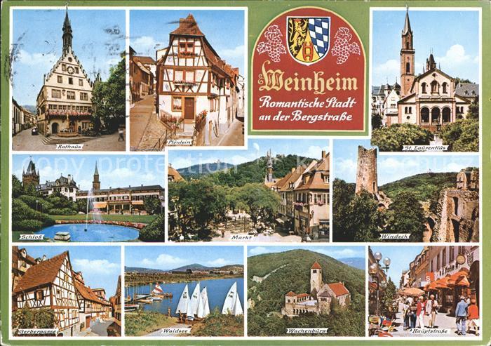 ak ansichtskarte weinheim bergstrasse hauptstrasse kat weinheim nr kc14269 oldthing. Black Bedroom Furniture Sets. Home Design Ideas