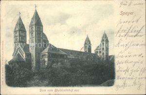 Speyer Rhein Dom vom Rheinbahnhof  Kat. Speyer