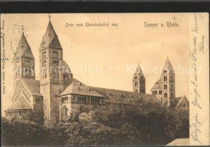 Speyer Rhein Dom vom Rheinbahnhof aus Kat. Speyer