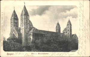 Speyer Rhein Dom vom Rheinbahnhof gesehen Kat. Speyer