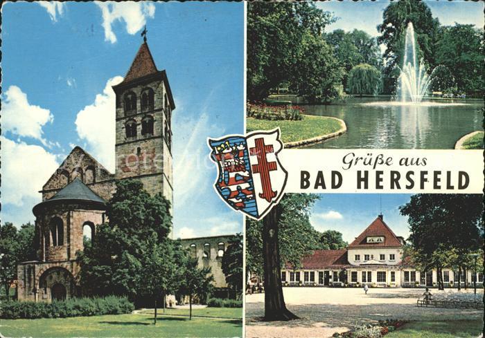 Bad Hersfeld Stiftskirche Teich Fontaene Wandelhalle Wappen Kat. Bad Hersfeld