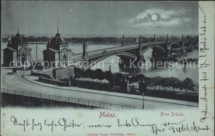 Mainz Rhein Neue Bruecke im Mondschein / Mainz Rhein /Mainz Stadtkreis