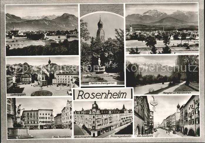 Rosenheim Bayern Alpenpanorama Stadtgarten Mangfall Wendelstein Max Josefplatz Brunnen Ludwigsplatz Bromsilber Kat. Rosenheim