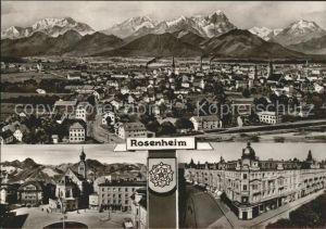 Rosenheim Bayern Gesamtansicht mit Alpenpanorama Platz Strassenpartie Bromsilber Kat. Rosenheim