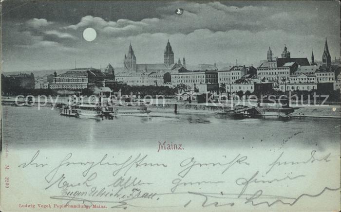 Mainz Rhein Rheinufer Mondkarte  / Mainz Rhein /Mainz Stadtkreis