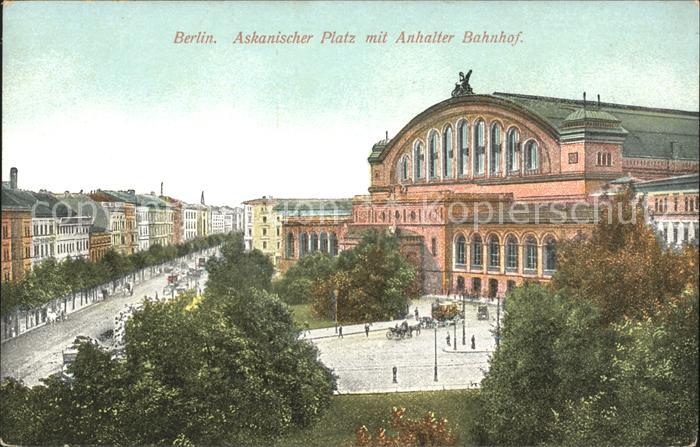 Berlin Anhalter Bahnhof Pferdekutschen Askanischer Platz Kat. Berlin