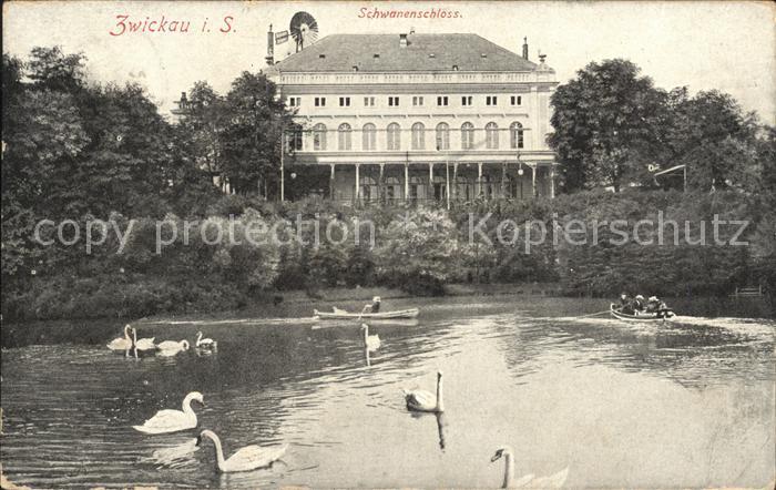 Zwickau Sachsen Schwanenschloss Schwanenteich Kat. Zwickau