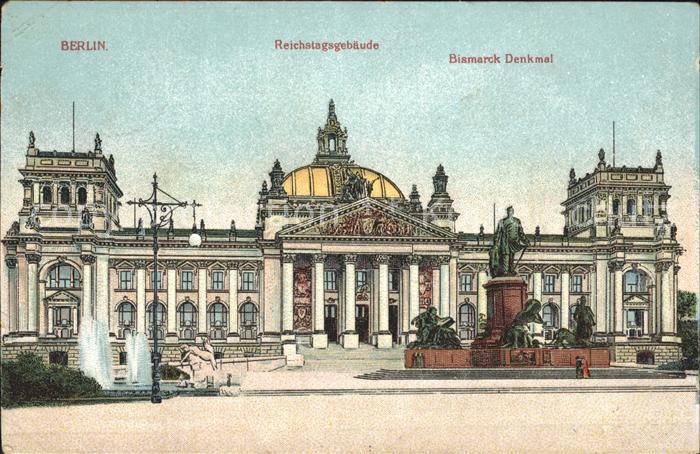 Berlin Reichtagsgebaeude Bismarck Denkmal Kat. Berlin