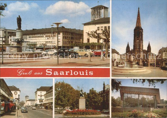 Saarlouis Marktplatz Brunnen Kirche Strassenpartie Denkmal Kat. Saarlouis