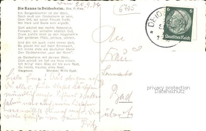 Deidesheim Gedicht die Kanne Peter Klee Kat. Deidesheim 1