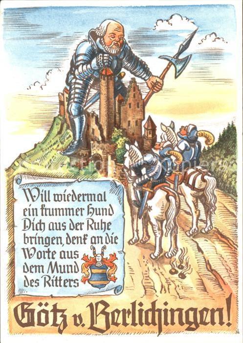 Neckarzimmern Gaststaette Burg Hornberg Ritter Pferd Kat. Neckarzimmern