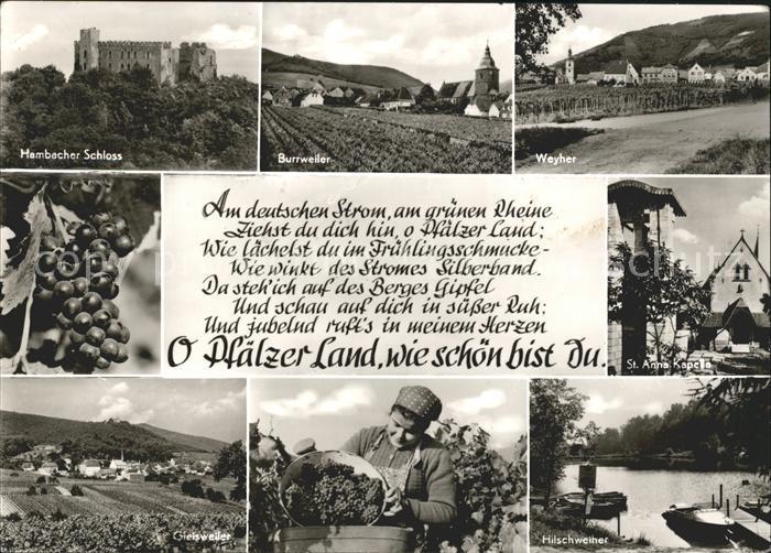 Burrweiler Weyher Hilschweiher Mambacher Schloss Kat. Burrweiler