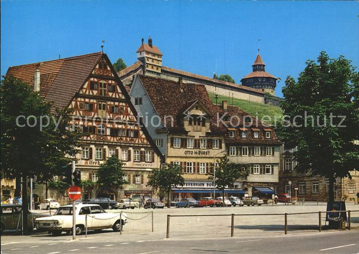 Esslingen Neckar Marktplatz mit Burg Autos Kat. Esslingen am Neckar