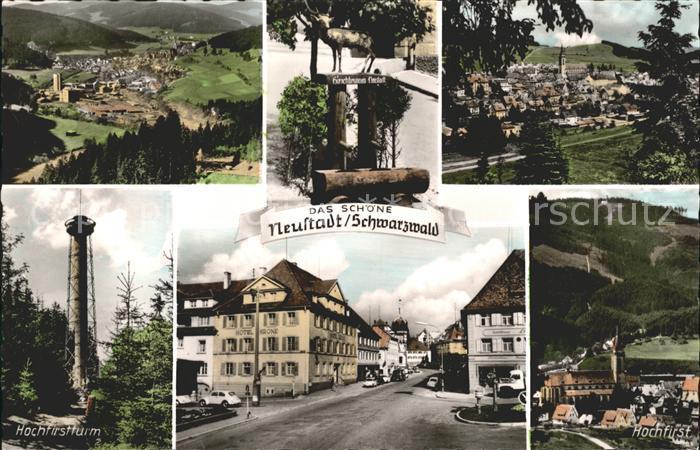 Neustadt Titisee Totalansicht Hirschbrunnen Hochfirst Turm Strassenpartie Kat. Titisee Neustadt