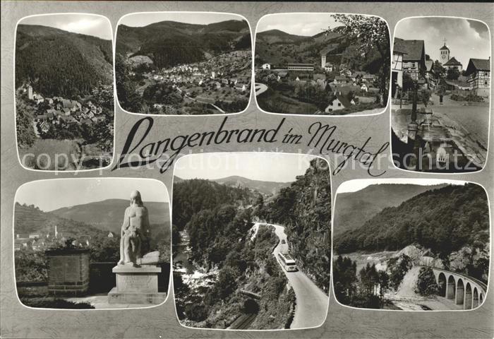 Langenbrand Forbach Panorama Strassenpartien Denkmal Viadukt Kat. Forbach