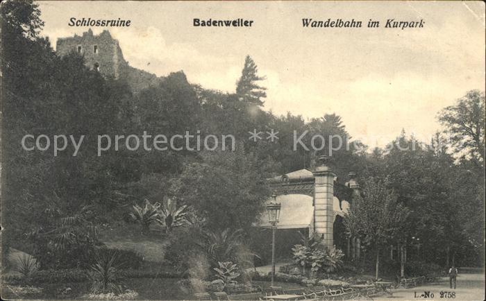 Badenweiler Schlossruine Wandelbahn im Kurhpark Kat. Badenweiler