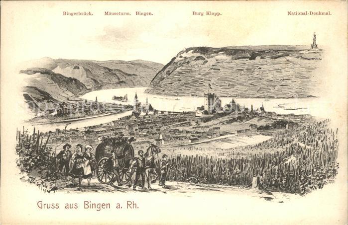 Bingen Rhein Pferdewagen Wein National Denkmal Kat. Bingen am Rhein