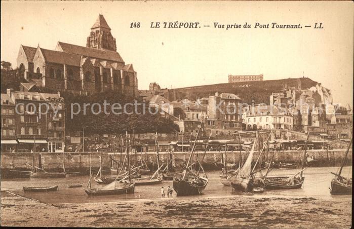 Le Treport Vue prise du Pont Tournant Bateaux Eglise Kat. Le Treport