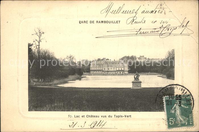 Rambouillet Parc Lac et Chateau vus du Tapis Vert Monument Kat. Rambouillet
