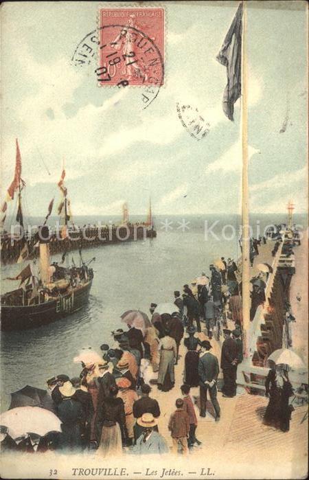 Trouville sur Mer Les Jetees Stempel auf AK Kat. Trouville sur Mer