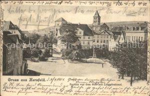 Bad Hersfeld Partie vor dem Stift mit Linggdenkmal Kat. Bad Hersfeld