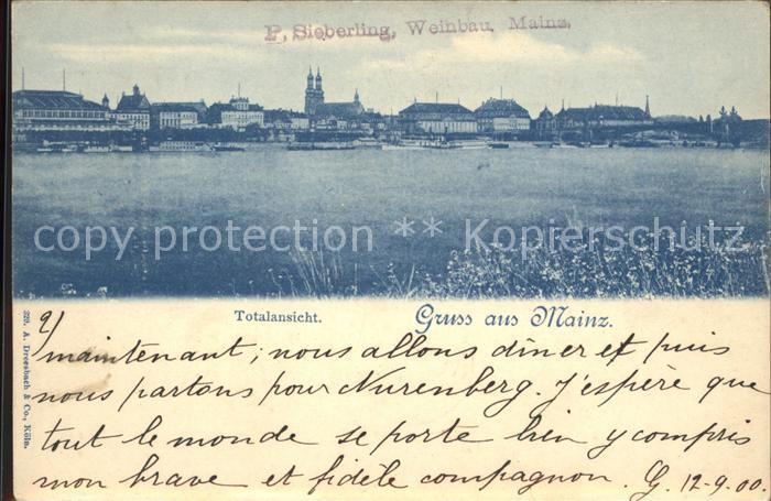 Mainz Rhein Totalansicht Rheinufer / Mainz Rhein /Mainz Stadtkreis