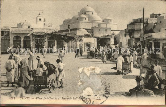 Tunis Place Bab Souika et Mosquee Sidi M Harez Kat. Tunis